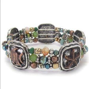 Sea life handcrafted beaded stretch bracelet